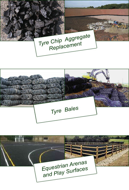 Tyre Chip Aggregate Replacement, Equestrian Arenas and Play Surfaces, Tyre URRO Blocks (Bales).